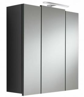 Spiegelschrank 68 cm LED Leuchte Schalter-Stecker-Box 3 Türen Anthrazit *5422