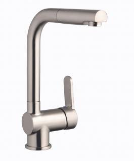 Spültisch Küchenarmatur DORA Geschirrbrause Edelstahloptik Wasserhahn *1014