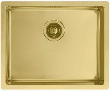 Moderne Spüle Küchenspüle gold 55 cm Flachrand Spülbecken Einbauspüle *1103382