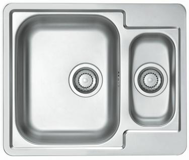 Einbauspüle Leinenstruktur oder Edelstahl 61, 5 cm Küchenspüle 1, 5 Becken *Line50