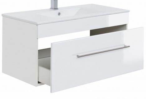 Waschplatz hängend Breite 100 cm Keramikbecken Waschtisch Viva weiß Hochglanz