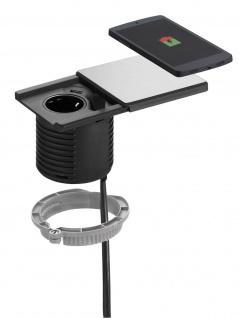 EVOline SQUARE Qi Schreibtisch Einbausteckdose USB Charger Ladespule *549191