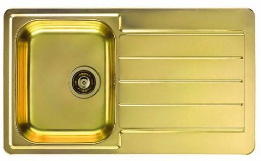 Moderne Küchenspüle gold Einbauspüle 86 cm Spülbecken Ablaufgarnitur *1068988
