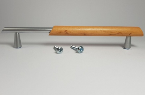 Möbelgriffe BA 160 mm Buche & Chrom matt Schrankgriffe Holzgriffe Türgriff *9053