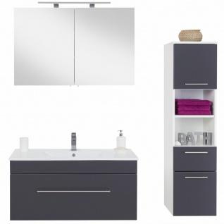 Badmöbel-Set Viva anthrazit Waschtisch 100 cm mit Becken Spiegelschrank 3 Teile