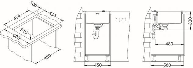 Alveus Einbau Küchenspüle 450 x 450 mm Abwaschbecken Anthrazit, Gold *Mon-Qua-30 - Vorschau 4