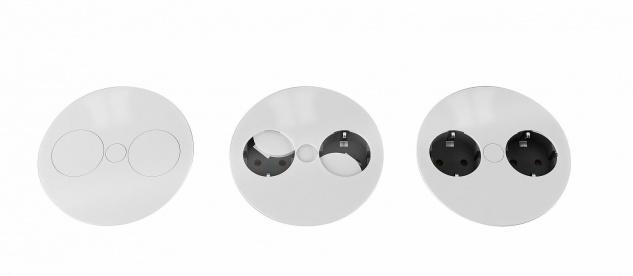 1 Schuko Einbau 2-fach Küchensteckdose TWIST versenkbar Kinderschutz *552726