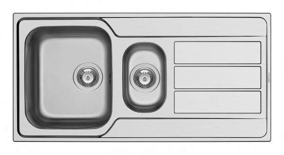 Küchenspüle Edelstahl Restebecken Einbauspüle 100 cm Hahnloch Spüle *101220112