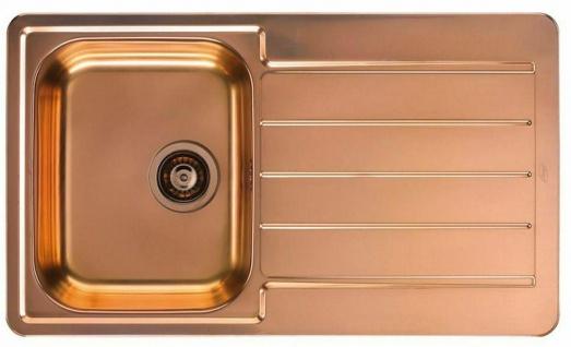 Moderne Küchenspüle kupfer Einbauspüle 86 cm Spülbecken Ablaufgarnitur *1068985