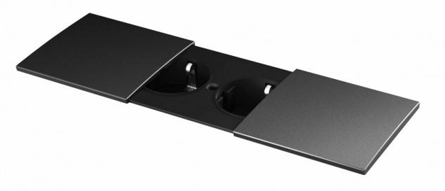 Bachmann Küchen Einbau-Steckdose Tisch Due Schwarz Wand Doppelsteckdose *554003