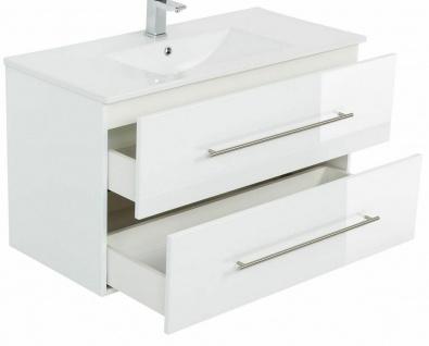 Waschplatz 60 - 140 cm Keramikbecken Schublade SoftClose Hochglanz *Holi-WP-W - Vorschau 3