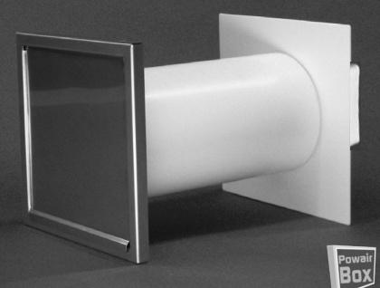 Mauerkasten Dunstabzug Abluft Ø 150mm ausziehbar Edelstahl Rückstauklappe *50490