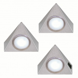 LED Dreieckleuchte Küche Unterbauleuchte 3x1, 3 W Edelstahl Küchenleuchte *551903