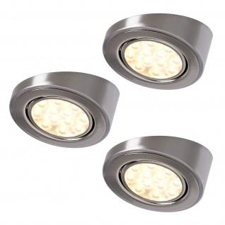 LED 3-er Set Küchen Unterbauleuchte 3 x 3 W Edelstahloptik Strahler Spot *552306