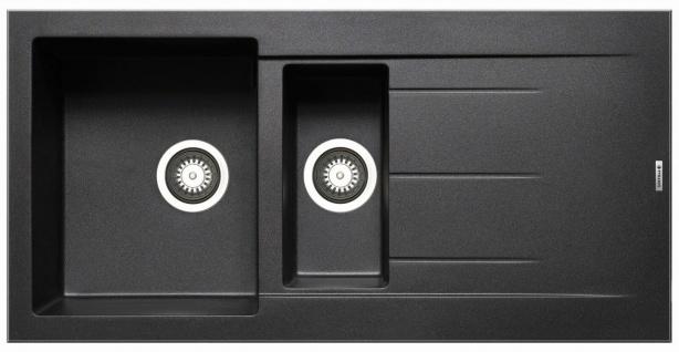 Küchenspüle Alazia 100x50 cm moderne Einbauspüle 1, 5 Becken Spüle Spülbecken