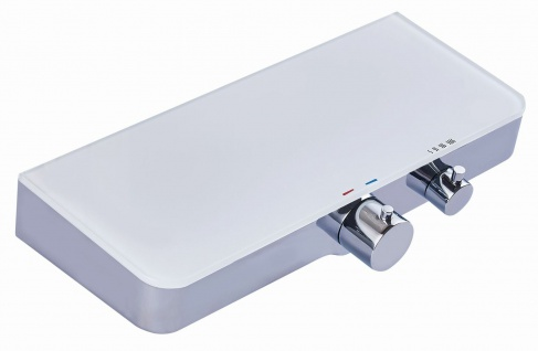 Duscharmatur Thermostat-Armatur Brausearmatur Badarmatur Glasablage weiß *0842