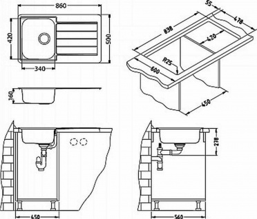 Alveus Küchenspüle Einbauspüle Spülbecken LINE 20 Kupfer Abwaschbecken *1068985 - Vorschau 3