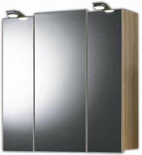 LED Spiegelschrank 3 Türen 2 LED Leuchten 2x1 W Schalter-Stecker-Kombi *5423-14