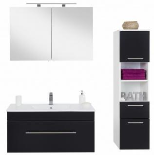 Badmöbel-Set Viva Waschtisch 100 cm mit Becken LED Spiegelschrank Badset schwarz