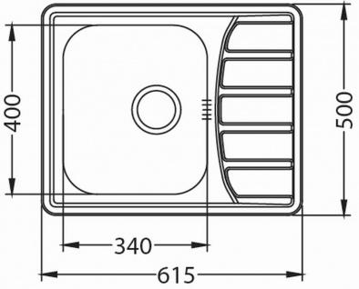 Kleine Küchenspüle 61, 5 cm Edelstahl Einbauspüle Camping Spüle Ablauf *1100215 - Vorschau 2