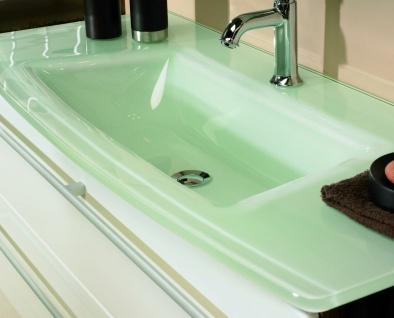 Waschplatz 81 cm Glasbecken Jolie 2 Schubladen Gäste WC Bad Waschtisch *WP-J-81