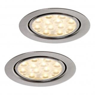 LED 2-er Set Küchen Einbauleuchte 2 x 3 W Spot Strahler Edelstahloptik *552177