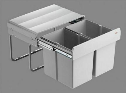 Wesco Double Shorty 2 x15 Liter Küchen Abfall 2-fach Mülleimer Vollauszug *40740