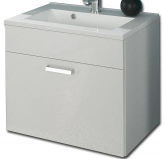 Waschplatz Hochglanz 60 cm Waschtisch Mineralguss Becken Gäste Bad WC *5300-76