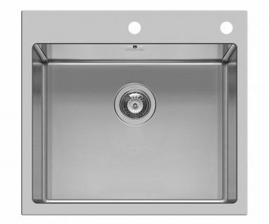 Große Küchenspüle 55 cm Einbauspüle Hahnloch Spülbecken Waschbecken *100082301