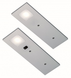 2-er LED Unterbauleuchte Küche Neutralweiss Aluoptik Konverter Sensor *555345