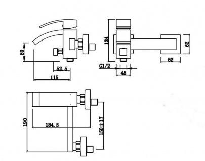 Design Badarmatur CALLI Wasserhahn Wannenfüllarmatur Schwallauslauf Chrom *0729 - Vorschau 2