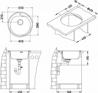 Alveus Einbauspüle Ø 510 mm Rundbecken Küchenspüle Spüle Kupfer Becken *1070807 - Vorschau 2