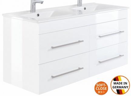 Doppelwaschplatz mit Unterschrank 120 cm Doppelwaschtisch Homeline Badmöbel