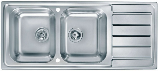 Doppelspüle Küchenspüle Edelstahl 116cm Doppelspülbecken Hahnloch Spüle *1087975