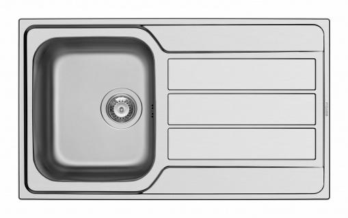 Küchenspüle 86 cm Edelstahl Einbau flächenbündig Einbauspüle Hahnloch *101100212