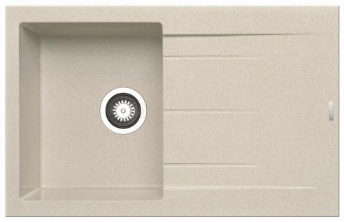 Einbauspüle 79x50 cm moderne Küchenspüle Alazia Spülbecken beige Abwaschbecken