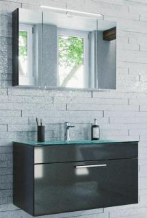Badmöbel-Set Heron 2 Teile Waschplatz mit Glasbecken LED Spiegelschrank Badset