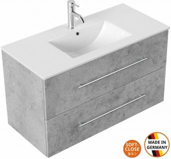 Moderner Waschplatz mit Unterschrank 100 cm Waschtisch Homeline mit 2 Schubladen