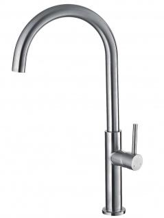 Küchenarmatur Edelstahl massiv Wasserhahn 90° schwenkbar Mischbatterie *0575