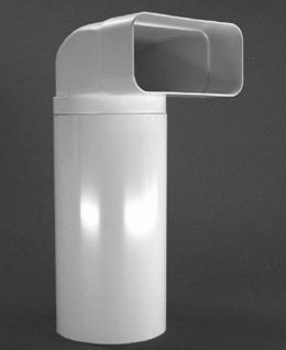 Umlenkstück Abluft Küche 100 cm Flachkanal-Rohr 150x70 mm zu Ø 125 mm *50113