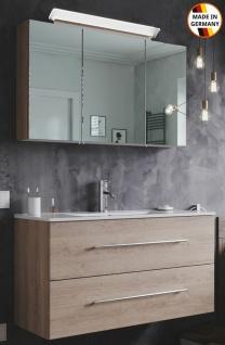 Großer Waschplatz Homeline 100 cm LED Spiegelschrank Badmöbelset 2 Teile Badset