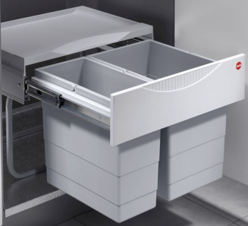 Hailo Raumspar Tandem S Abfall Küchen Mülleimer 2-fach Trennung 30 Liter *516049