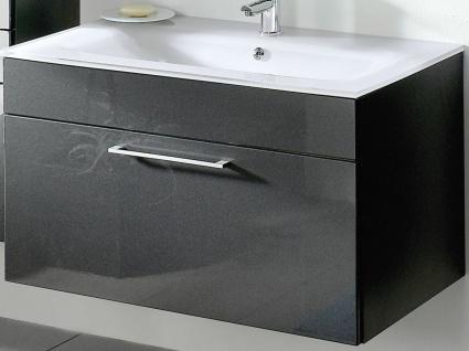 Waschplatz 90cm Waschtisch Unterschrank Softeinzug Glasbecken weiß Badmöbel 5712