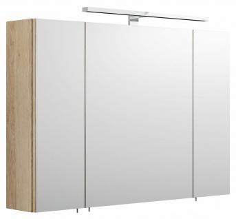 Badezimmer Spiegelschrank 90 cm mit LED Beleuchtung EEK A+ Spiegel 3 Türen *5674