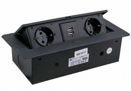 Einbausteckdose mit USB versenkbar Büro Schreibtisch Konferenzraum Küche *3003