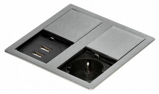 Küchen USB Einbausteckdose Büro max 3400 W VersaHIT Edelstahl Optik IP54 *569601