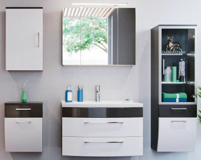 Badmöbelset Rima Badeinrichtung 5 Teile Waschtisch 82 cm Badset Badmöbel modern