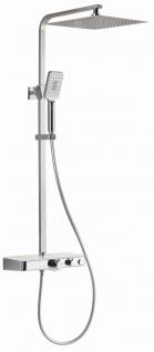 Duschset Thermostat Edelstahl Duschstange 84-118 mm eckig Duschgarnitur *0840