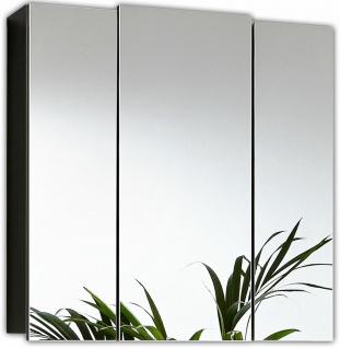 Spiegelschrank 68 cm 3 Spiegeltüren 6 variable Einlegeböden Anthrazit *5484-84