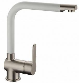 Küchenarmatur Einhandmischer Auslauf 360° schwenkbar Spültischarmatur weiß *0593
